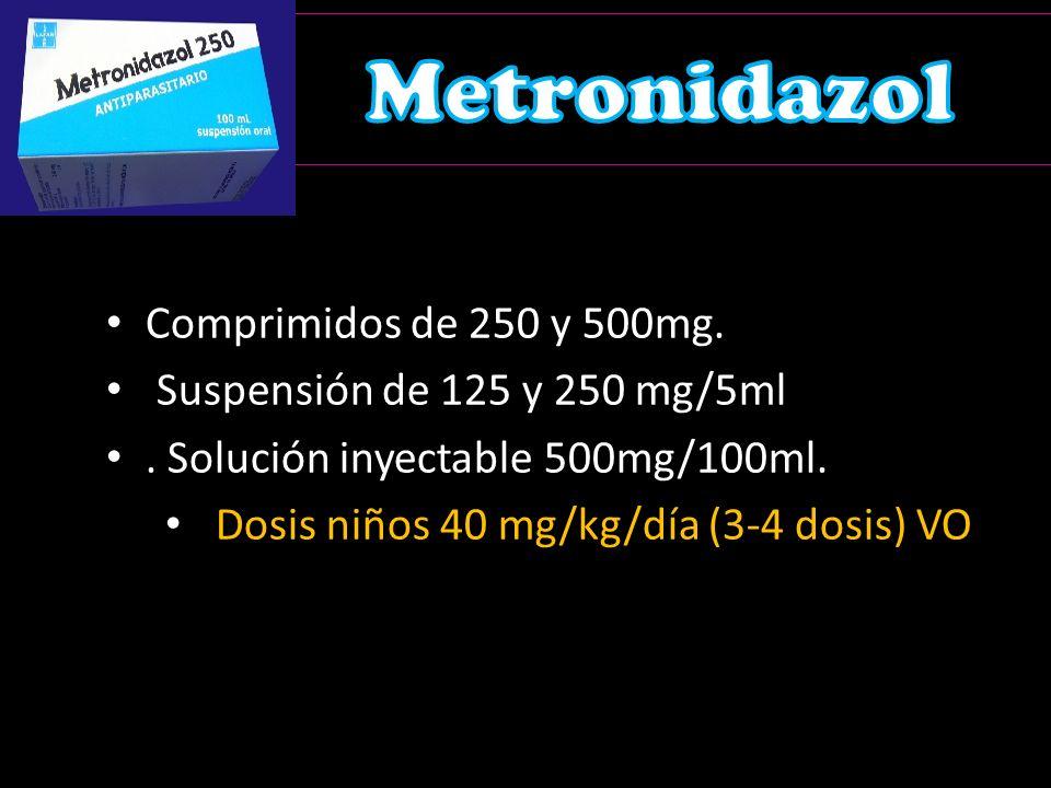 Dosis niños 40 mg/kg/día (3-4 dosis) VO