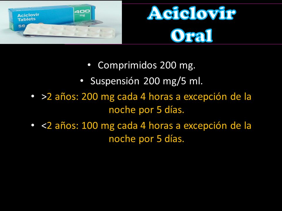 Aciclovir Oral Comprimidos 200 mg. Suspensión 200 mg/5 ml.