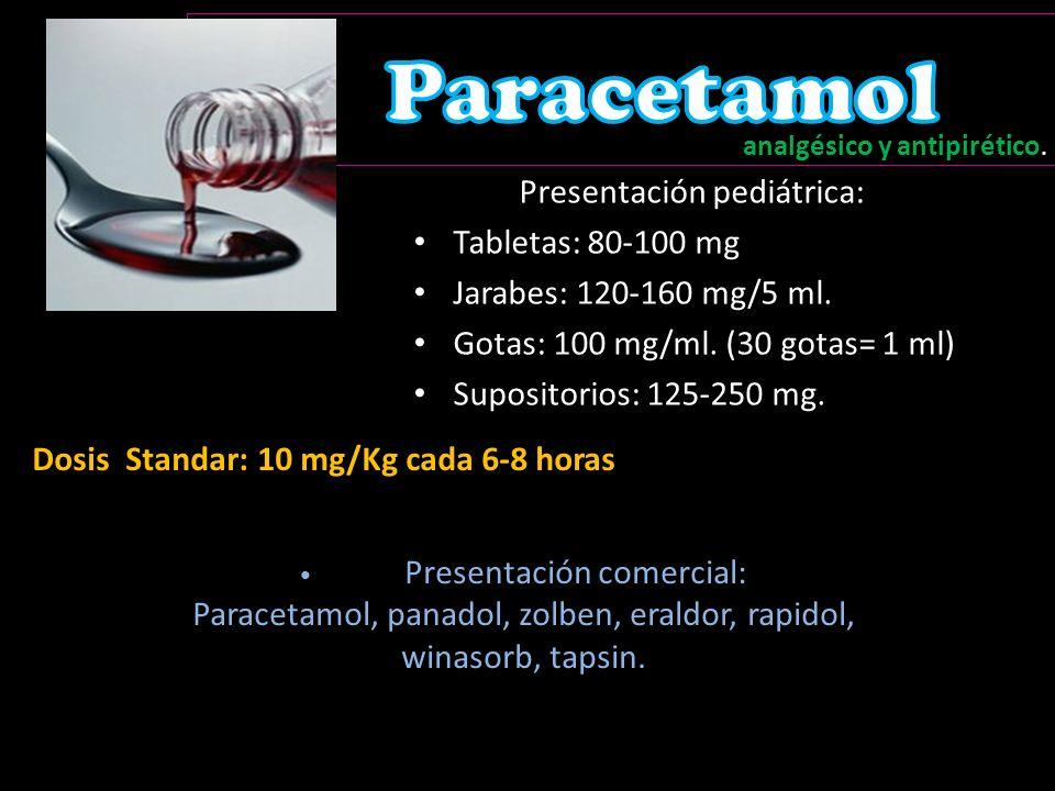 Paracetamol • Presentación pediátrica: Tabletas: 80-100 mg