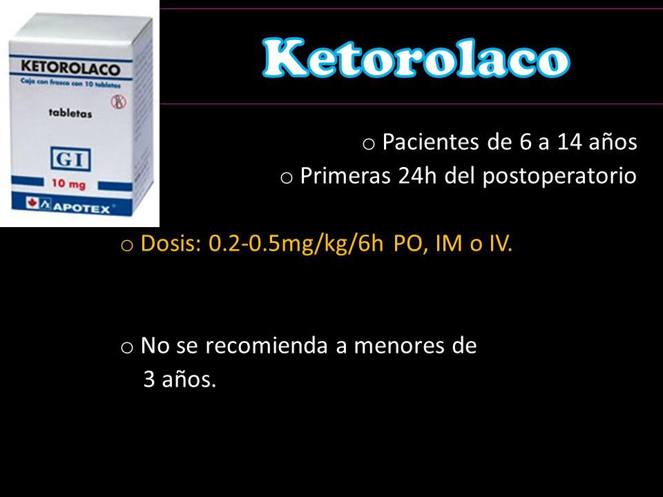 Ketorolaco Pacientes de 6 a 14 años Primeras 24h del postoperatorio