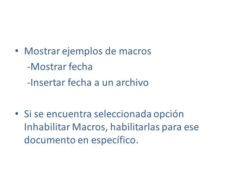 Mostrar ejemplos de macros