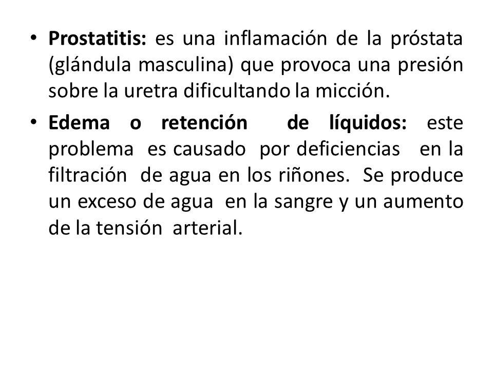 Prostatitis: es una inflamación de la próstata (glándula masculina) que provoca una presión sobre la uretra dificultando la micción.