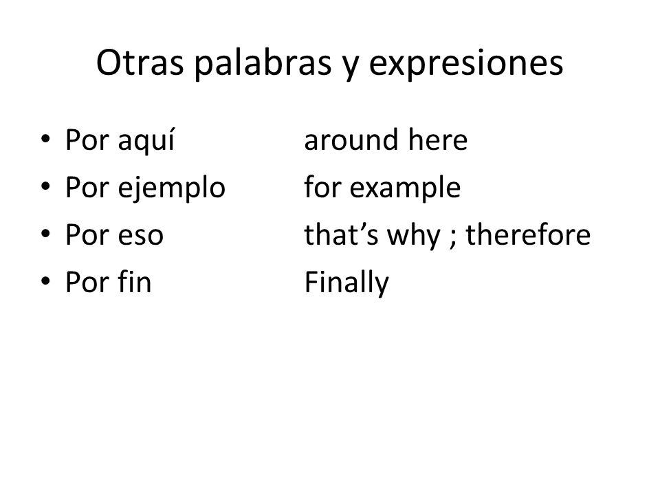 Otras palabras y expresiones