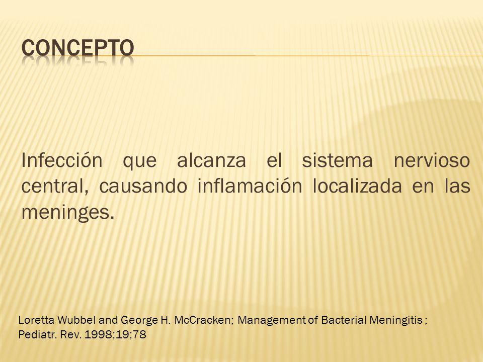 concepto Infección que alcanza el sistema nervioso central, causando inflamación localizada en las meninges.