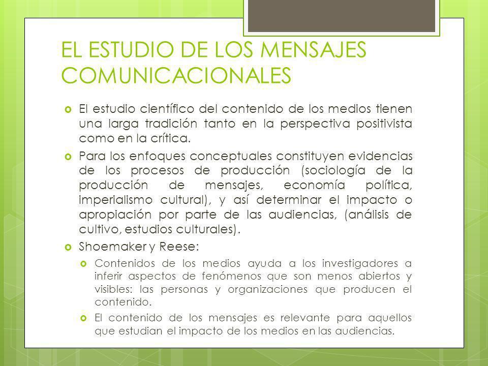 EL ESTUDIO DE LOS MENSAJES COMUNICACIONALES