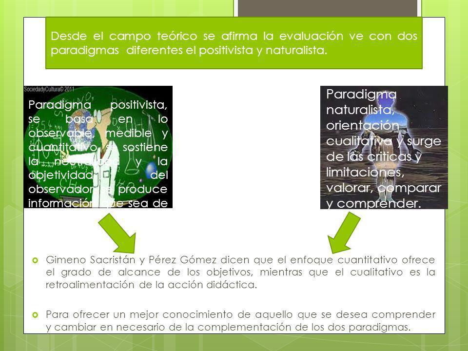 Desde el campo teórico se afirma la evaluación ve con dos paradigmas diferentes el positivista y naturalista.