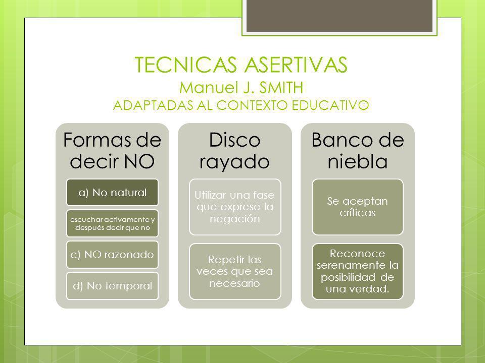 TECNICAS ASERTIVAS Manuel J. SMITH ADAPTADAS AL CONTEXTO EDUCATIVO