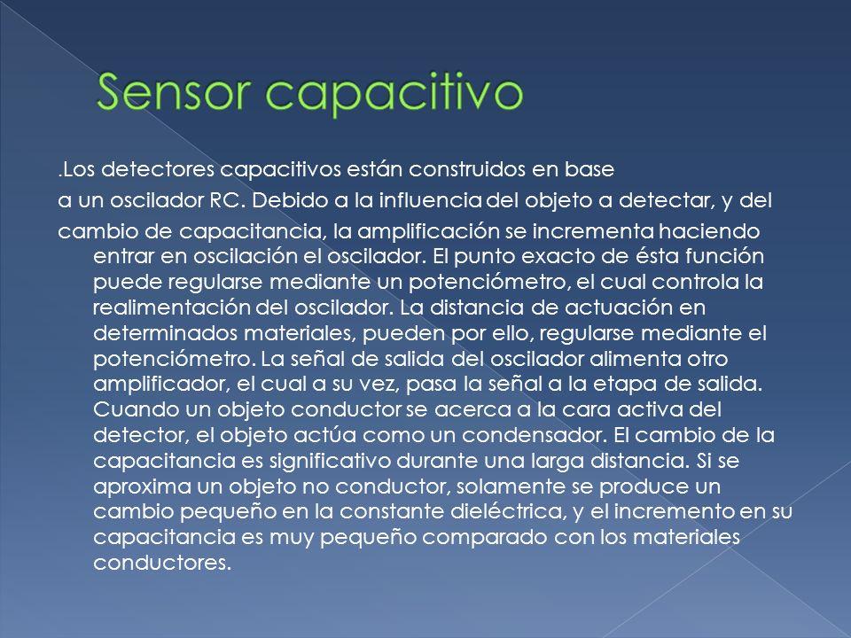 Sensor capacitivo .Los detectores capacitivos están construidos en base. a un oscilador RC. Debido a la influencia del objeto a detectar, y del.