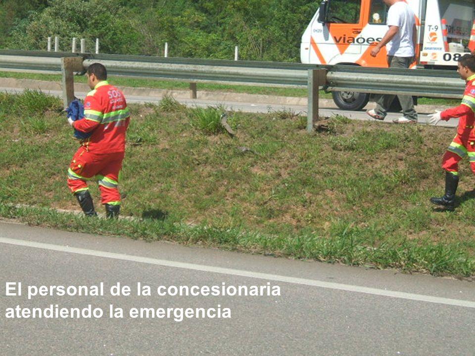 El personal de la concesionaria atendiendo la emergencia