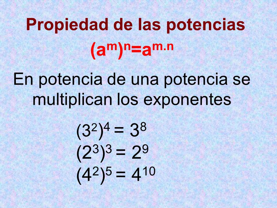 En potencia de una potencia se multiplican los exponentes