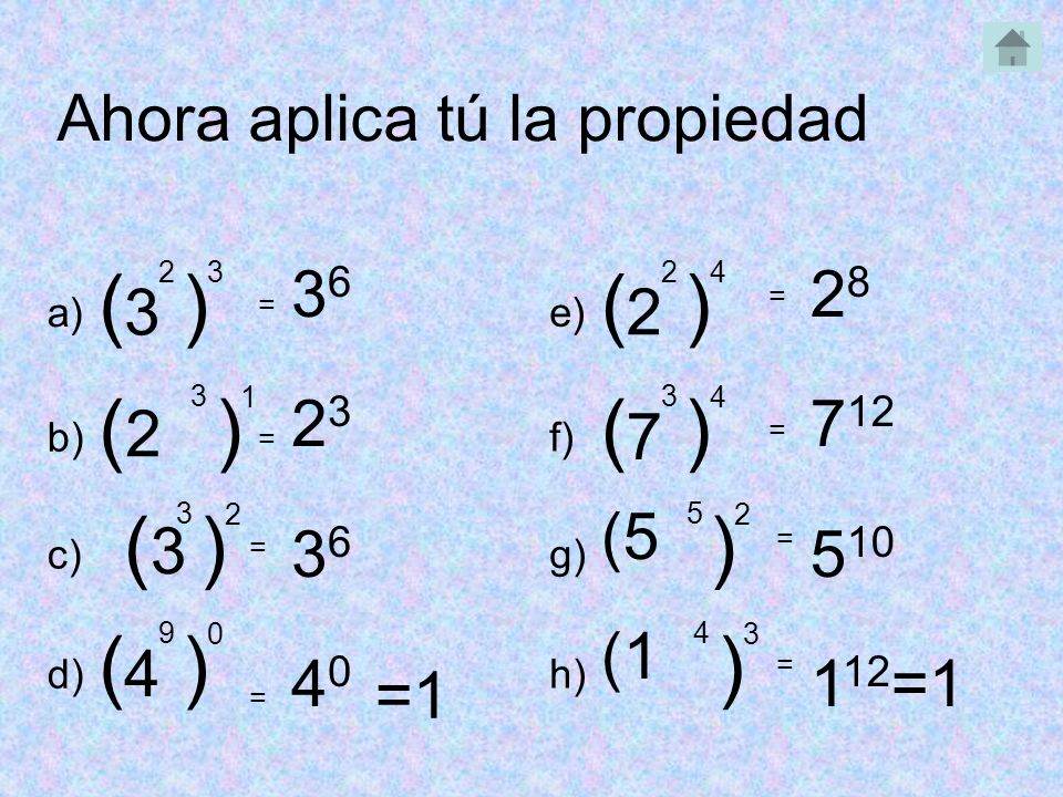 ( ) ( ) (2 ) ( ) (3 ) ) ( ) ) Ahora aplica tú la propiedad 36 23 40 28