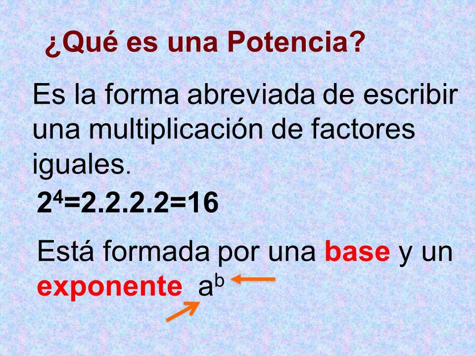 ¿Qué es una Potencia Es la forma abreviada de escribir una multiplicación de factores iguales. 24=2.2.2.2=16.