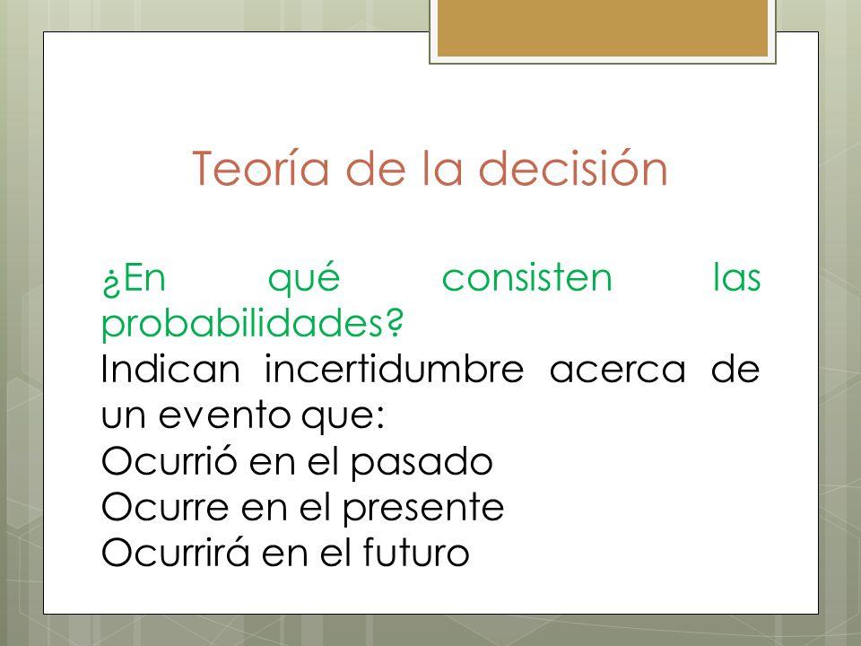 Teoría de la decisión ¿En qué consisten las probabilidades
