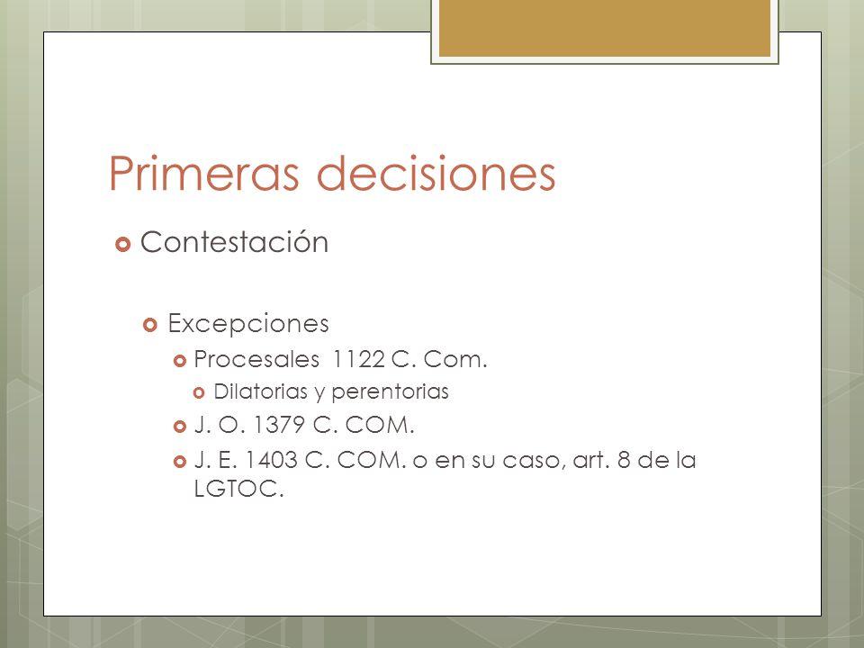 Primeras decisiones Contestación Excepciones Procesales 1122 C. Com.