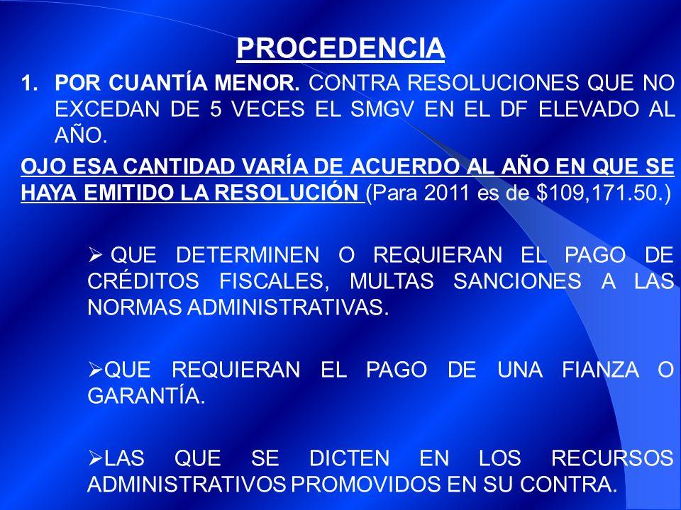 PROCEDENCIA POR CUANTÍA MENOR. CONTRA RESOLUCIONES QUE NO EXCEDAN DE 5 VECES EL SMGV EN EL DF ELEVADO AL AÑO.