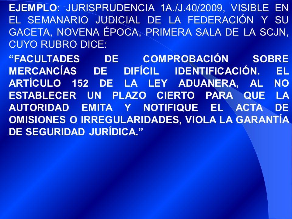 EJEMPLO: JURISPRUDENCIA 1A. /J