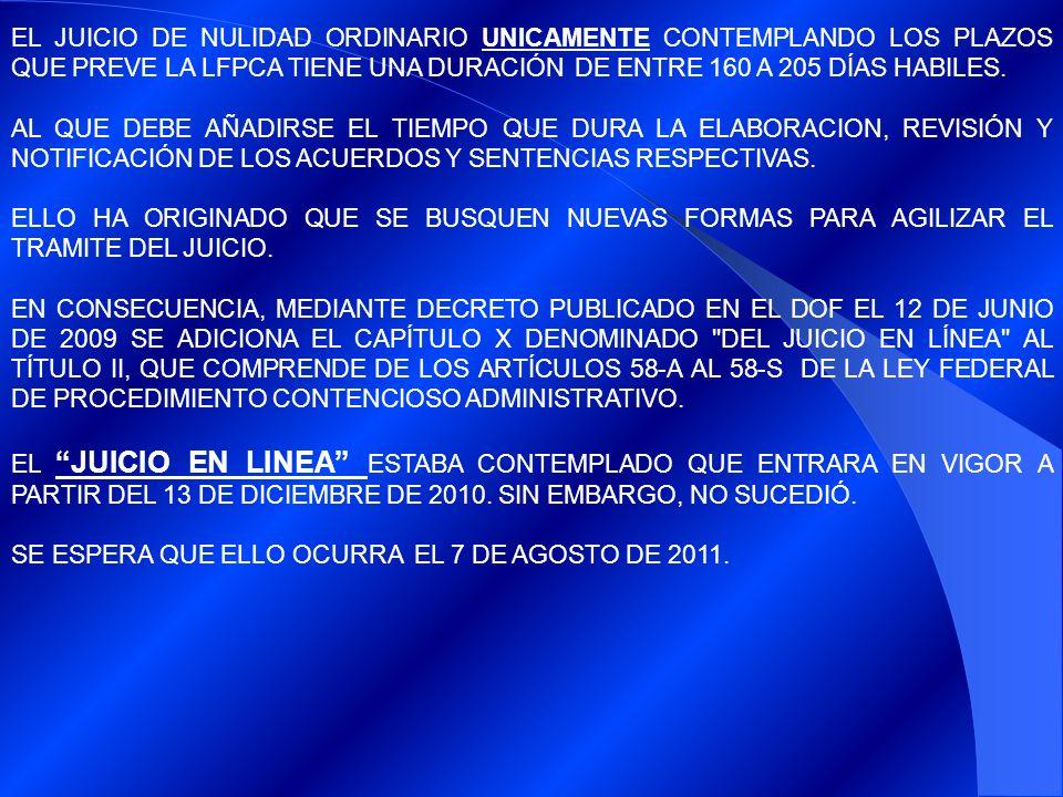 EL JUICIO DE NULIDAD ORDINARIO UNICAMENTE CONTEMPLANDO LOS PLAZOS QUE PREVE LA LFPCA TIENE UNA DURACIÓN DE ENTRE 160 A 205 DÍAS HABILES.