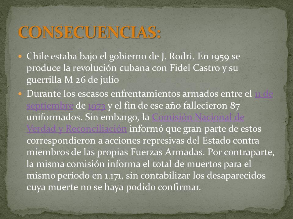 CONSECUENCIAS: Chile estaba bajo el gobierno de J. Rodri. En 1959 se produce la revolución cubana con Fidel Castro y su guerrilla M 26 de julio.