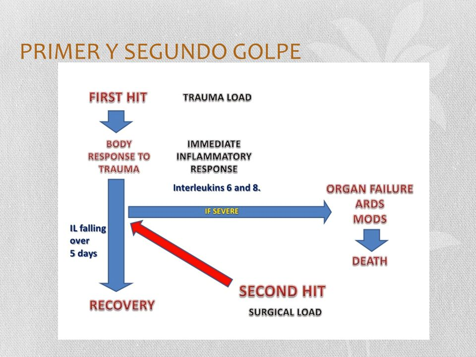 PRIMER Y SEGUNDO GOLPE The two-hit theory is shown schematically. The first hit is the initial traumatic event, and the second.