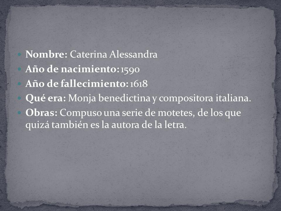 Nombre: Caterina Alessandra