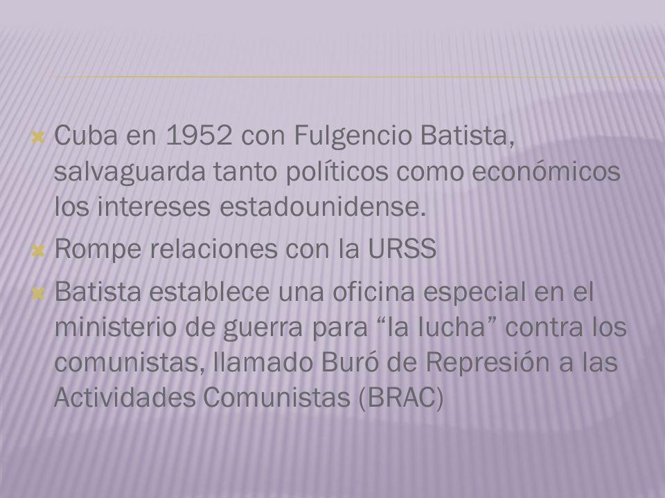 Cuba en 1952 con Fulgencio Batista, salvaguarda tanto políticos como económicos los intereses estadounidense.
