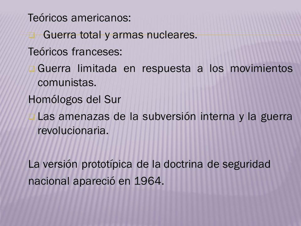Teóricos americanos:Guerra total y armas nucleares. Teóricos franceses: Guerra limitada en respuesta a los movimientos comunistas.