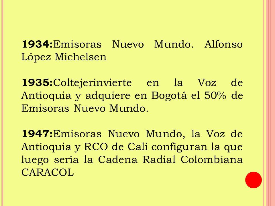 1934:Emisoras Nuevo Mundo. Alfonso López Michelsen