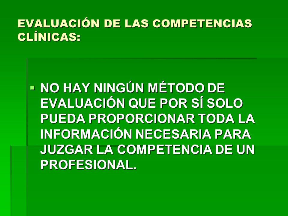 EVALUACIÓN DE LAS COMPETENCIAS CLÍNICAS: