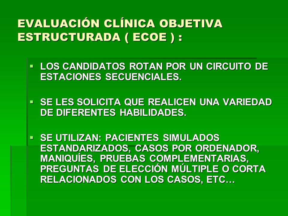 EVALUACIÓN CLÍNICA OBJETIVA ESTRUCTURADA ( ECOE ) :
