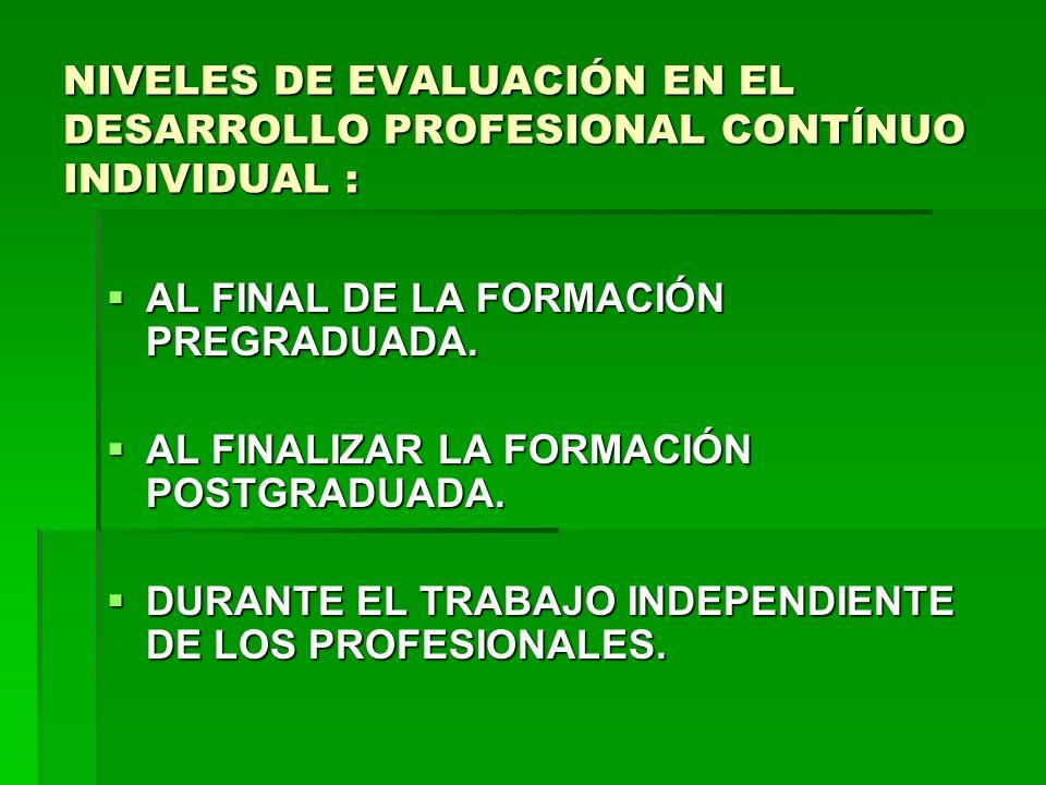 NIVELES DE EVALUACIÓN EN EL DESARROLLO PROFESIONAL CONTÍNUO INDIVIDUAL :
