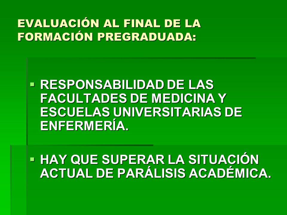 EVALUACIÓN AL FINAL DE LA FORMACIÓN PREGRADUADA: