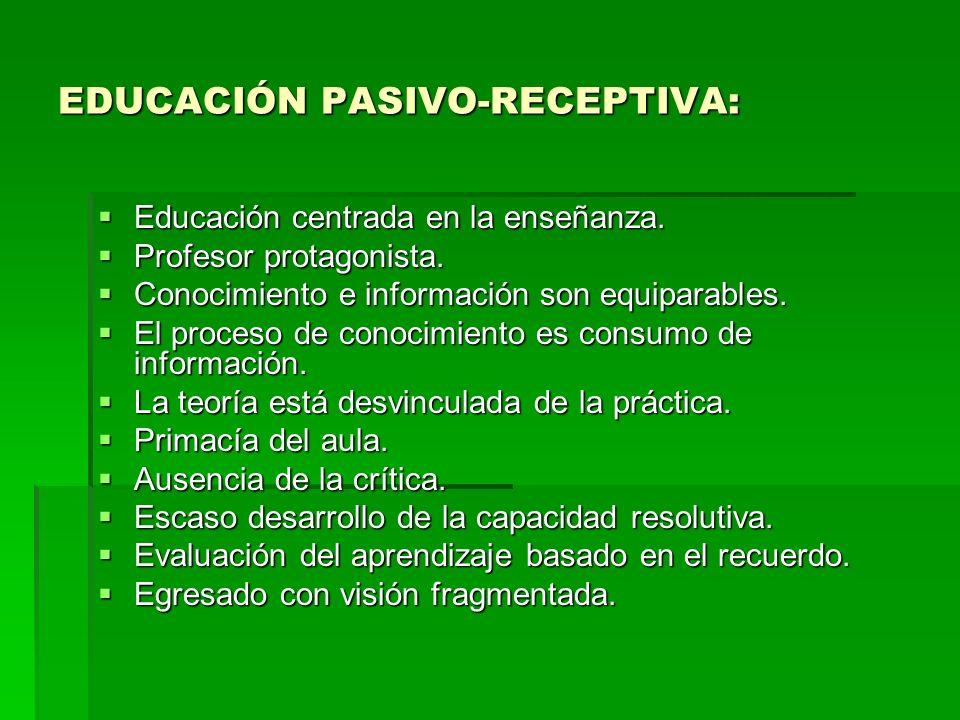 EDUCACIÓN PASIVO-RECEPTIVA:
