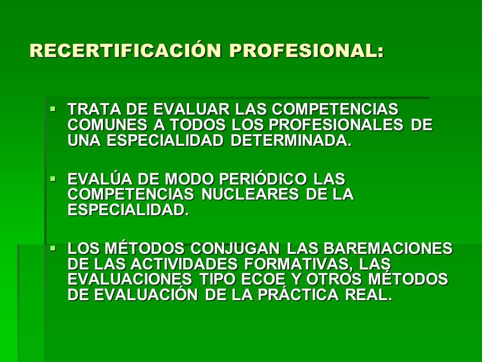 RECERTIFICACIÓN PROFESIONAL: