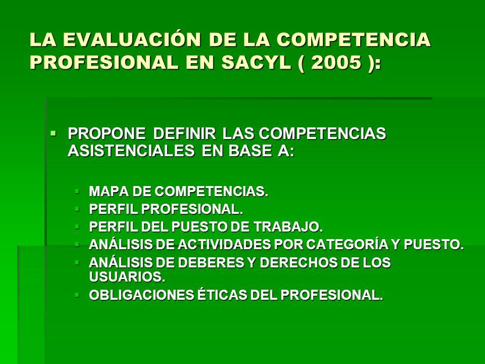 LA EVALUACIÓN DE LA COMPETENCIA PROFESIONAL EN SACYL ( 2005 ):