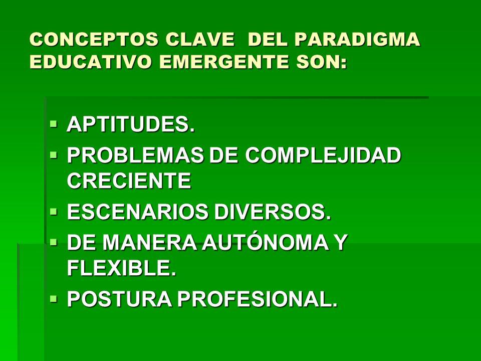 CONCEPTOS CLAVE DEL PARADIGMA EDUCATIVO EMERGENTE SON: