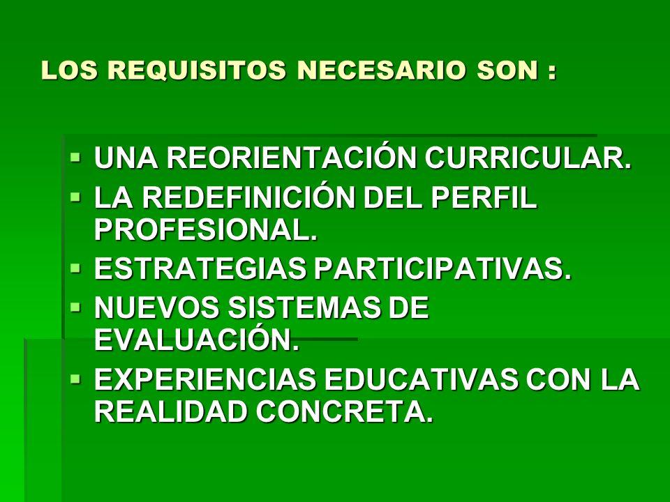 LOS REQUISITOS NECESARIO SON :