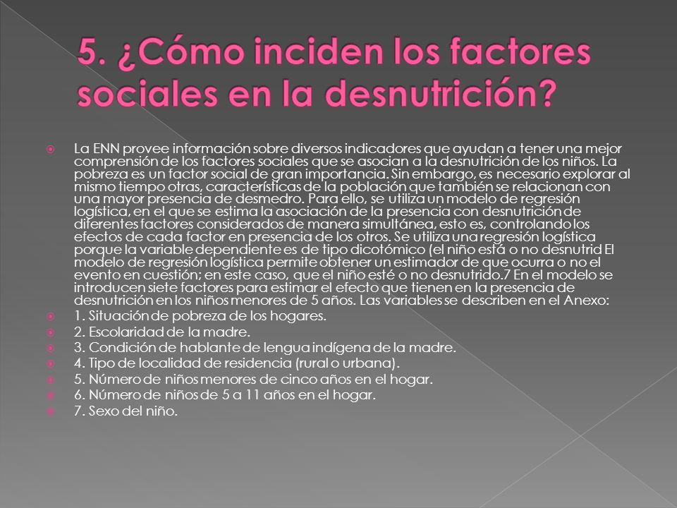 5. ¿Cómo inciden los factores sociales en la desnutrición