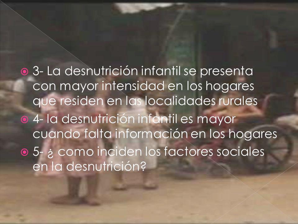3- La desnutrición infantil se presenta con mayor intensidad en los hogares que residen en las localidades rurales