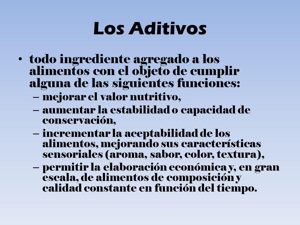 Los Aditivos todo ingrediente agregado a los alimentos con el objeto de cumplir alguna de las siguientes funciones: