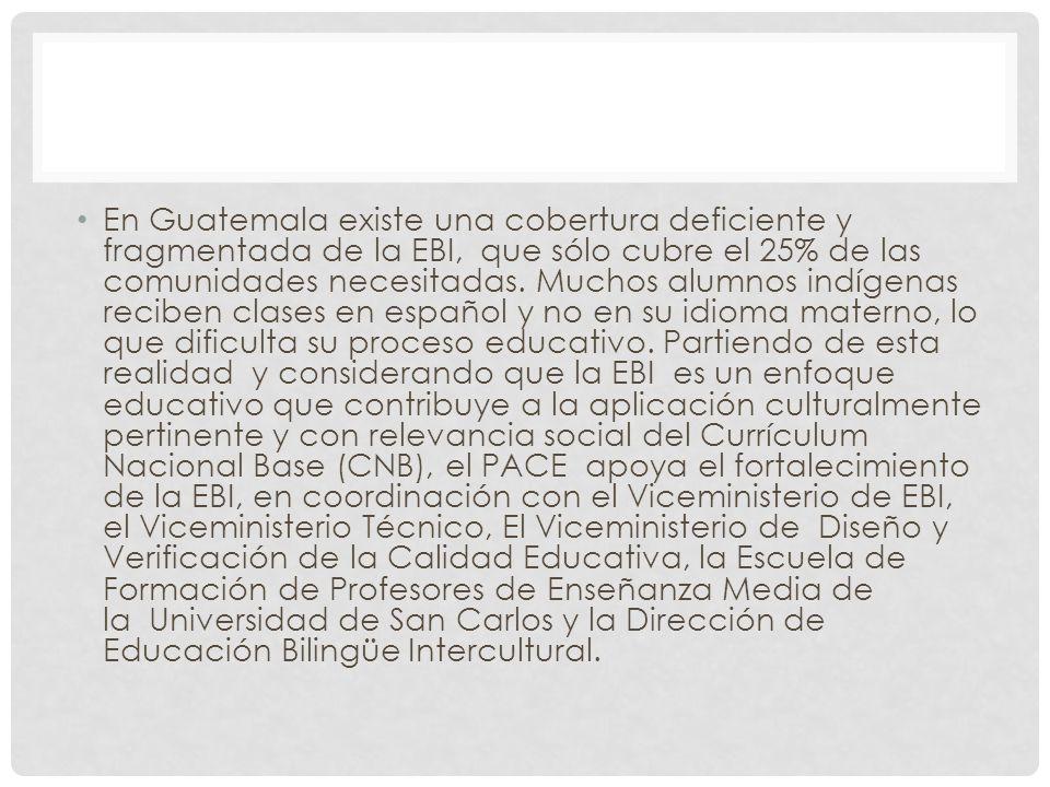 En Guatemala existe una cobertura deficiente y fragmentada de la EBI, que sólo cubre el 25% de las comunidades necesitadas.