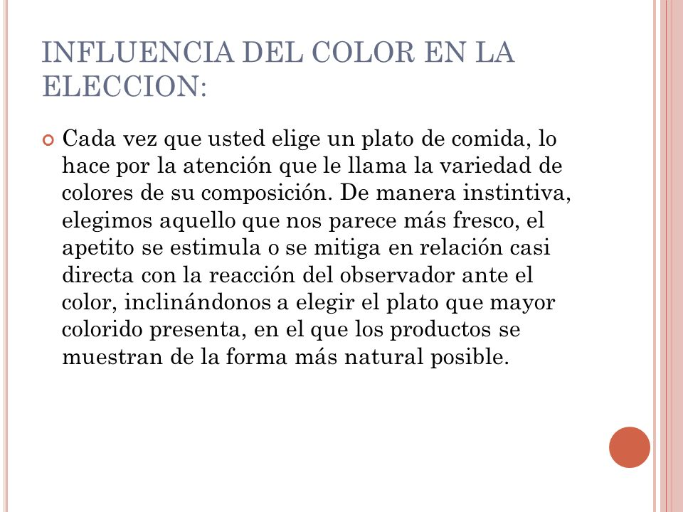 INFLUENCIA DEL COLOR EN LA ELECCION: