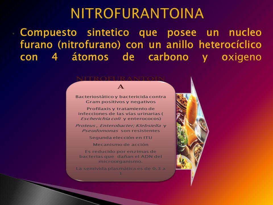 NITROFURANTOINA Compuesto sintetico que posee un nucleo furano (nitrofurano) con un anillo heterocíclico con 4 átomos de carbono y oxigeno.