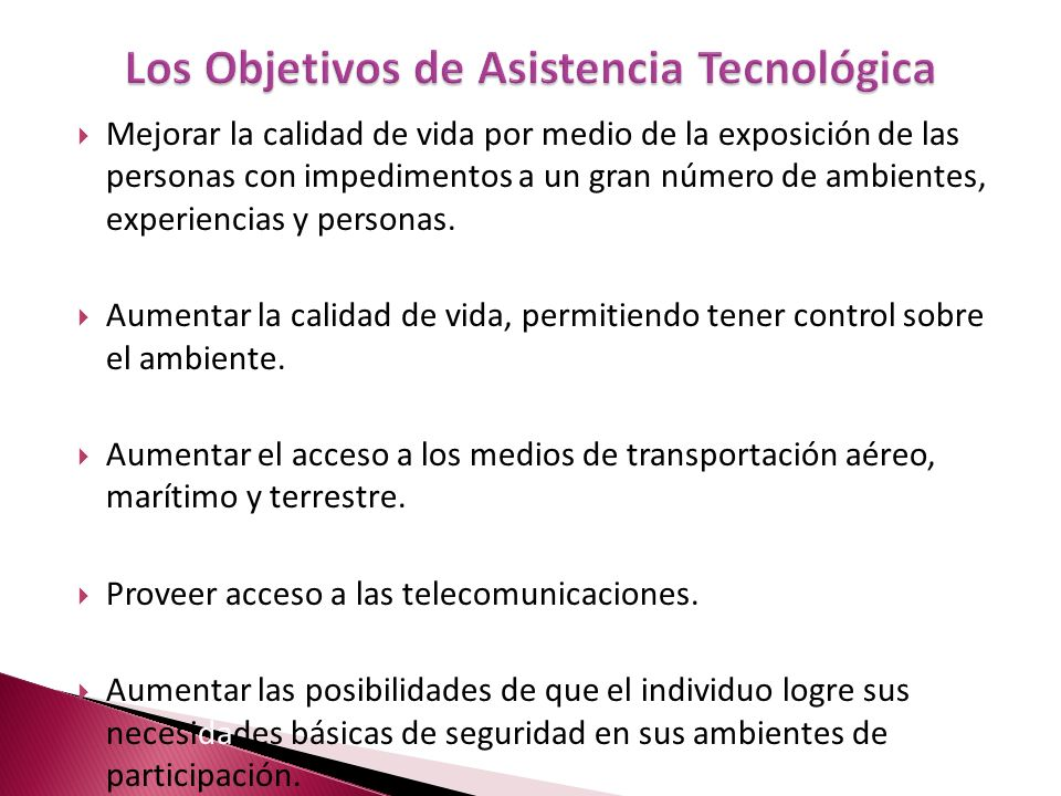 Los Objetivos de Asistencia Tecnológica