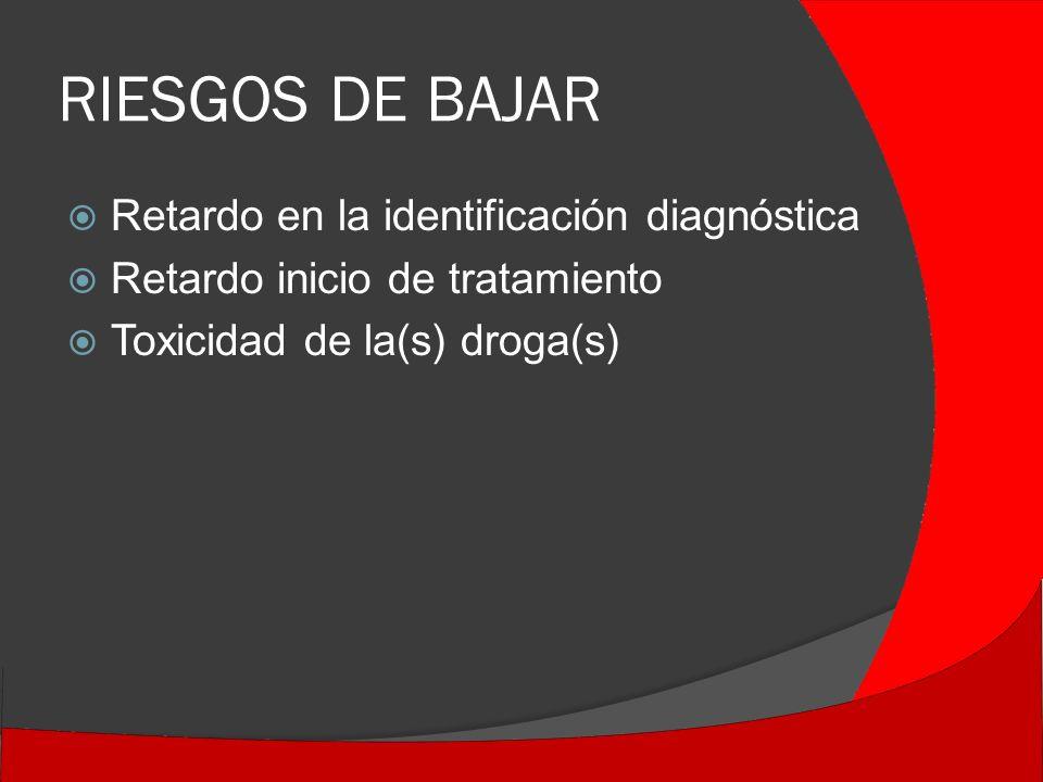 RIESGOS DE BAJAR Retardo en la identificación diagnóstica