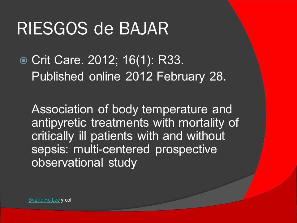 RIESGOS de BAJAR Crit Care. 2012; 16(1): R33.