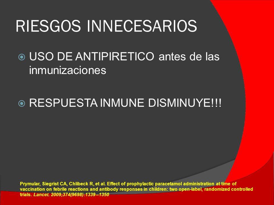 RIESGOS INNECESARIOS USO DE ANTIPIRETICO antes de las inmunizaciones