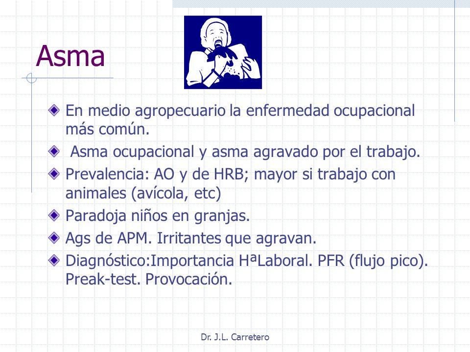 Asma En medio agropecuario la enfermedad ocupacional más común.