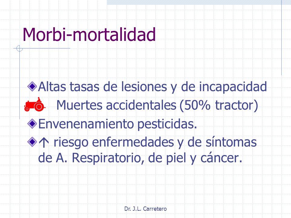 Morbi-mortalidad Altas tasas de lesiones y de incapacidad