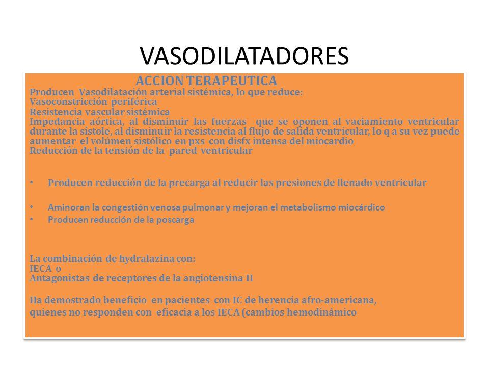VASODILATADORES ACCION TERAPEUTICA