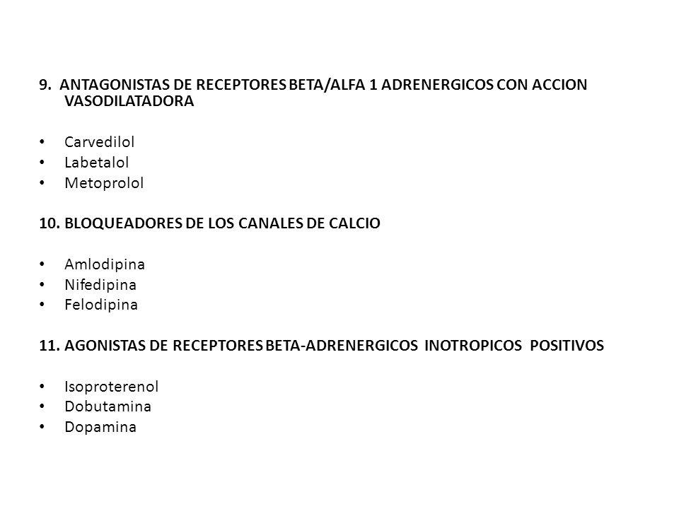 9. ANTAGONISTAS DE RECEPTORES BETA/ALFA 1 ADRENERGICOS CON ACCION VASODILATADORA